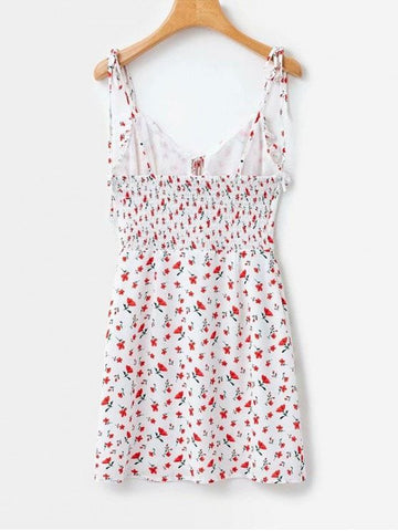 Tie Strap Floral Print Mini Sun Dress
