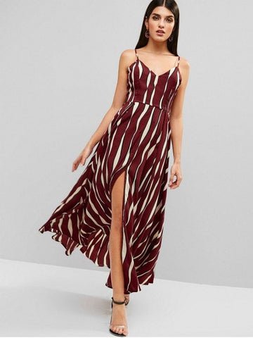 Tied Back Stripes Slit Cami Dress