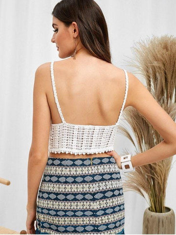Fashion Unlined Crochet Cami Crop Top