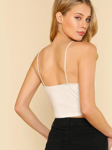 V Neck Ribbed Crop Cami Top
