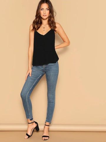 V Neck Solid Cami Top