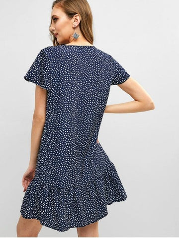 V Neck Water Drop Print Flare Dress