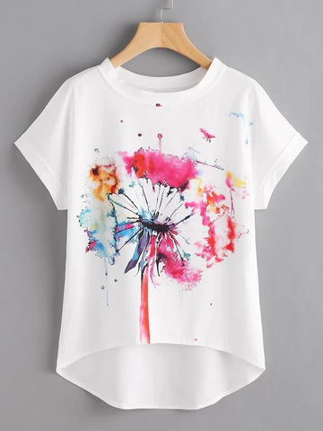 Watercolor Painting Print Dip Hem Chiffon Top