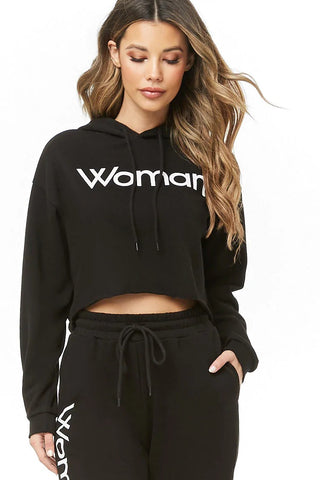 Woman Graphic Cropped Hoodie
