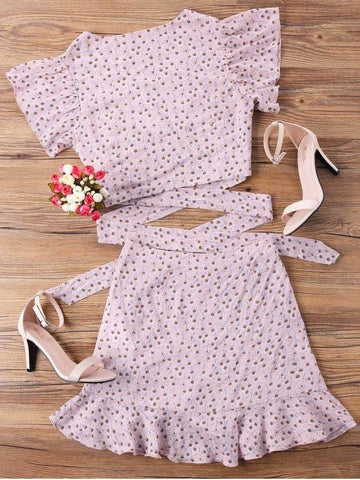 Wrap Top And Skirt Set