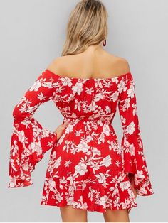 Flower Off Shoulder Flare Sleeve Dress