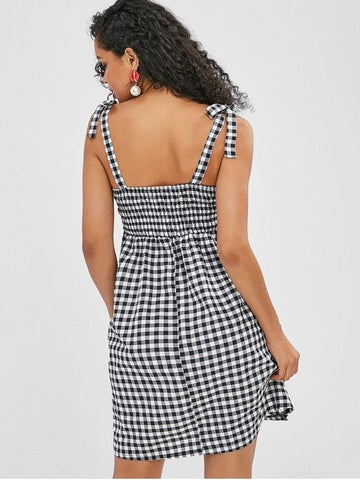 Tied Straps Smocked Plaid Dress
