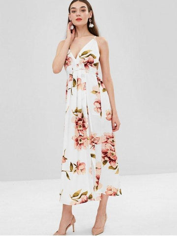 Spaghetti Strap Slit Floral Criss Cross Maxi Dress