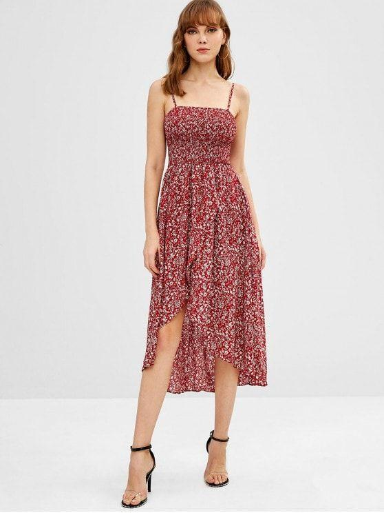 Spaghetti Strap Smocked Tiny Floral Asymmetric Cami Dress