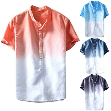 Blouse 19new Fashion Summer Men Cool Thin Breathable Collar Hanging Dyed Gradient Linen Shirt