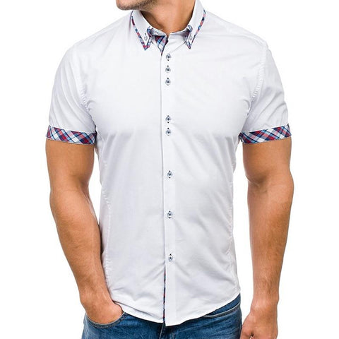 Summer Casual Men Shirt Slim  Short Sleeve Shirt Plaid Patchwork Business Shirt Plus Size Social Office Dress Shirt
