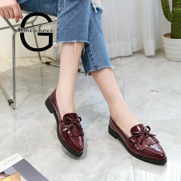 Casual Tassel Bow Pointed Toe Oxford flat Shoes
