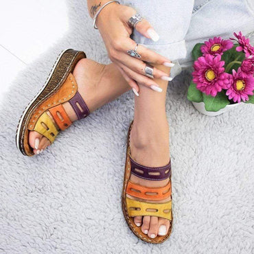 Three-color Stitching Color Casual Low Wedge Heel Beach Open Peep Toe Sandals