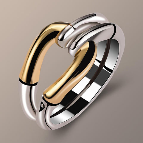 Vintage Style  Silver Gold Ring