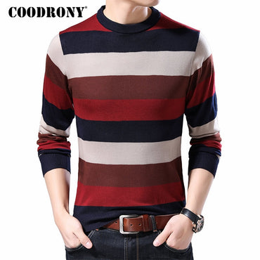 Cotton Knitwear Pull Homme Streetwear Fashion Striped Pullover Sweaters