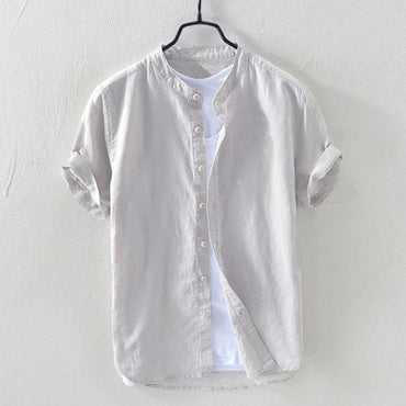 Trend Popular Casual Retro Tops Men Patchwork Linen Short Sleeve Collar Shirt