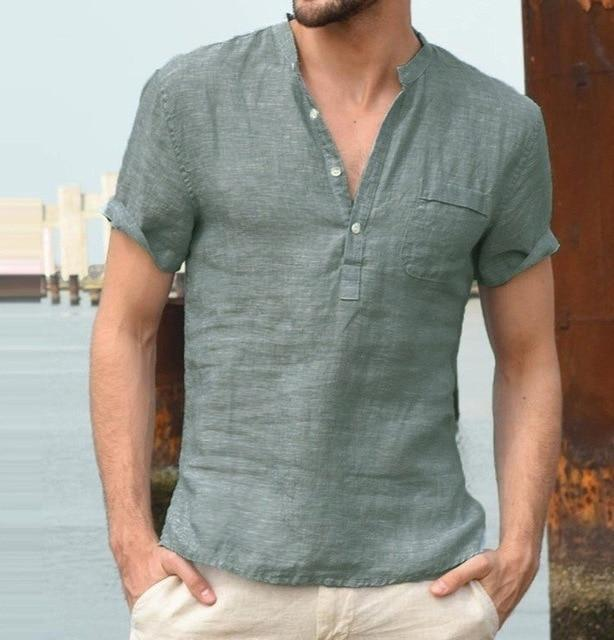 New  Casual Linen Fashion Shirts Male Mandarin collar Sexy V Neck Cotton Linen shirt