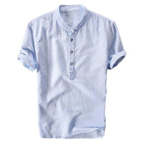 New Summer Brand Shirt Men Short Sleeve Loose Thin Cotton Linen Shirt