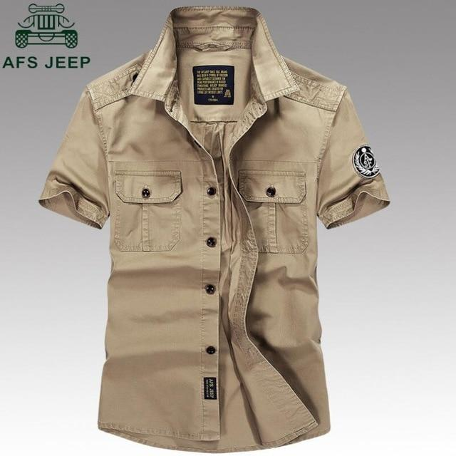 Summer Casual Dress Shirt Casual Army Military Shirt Men Short-sleeved 100% Cotton Fashion Shirts