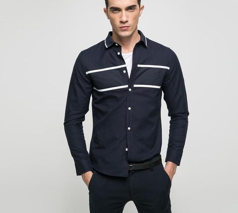 younger casual 100% cotton turn-down collar patchwork full length sleeves men shirts