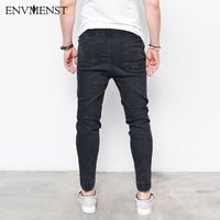 Washed Feet Shinny Denim Hip Hop Sportswear Elastic Waist Joggers Jeans