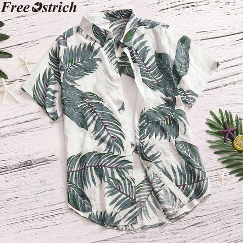 Vacation Plus Size Casual Stand Collar Button Loose Shirt