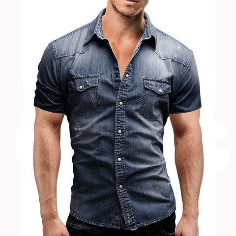 New Western Style Camisas Hombre Fashion Casual Streetwear Short Sleeve Denim Shirts