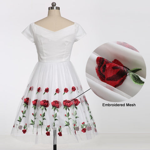 Tonval Rose Flower Embroidery V neck Elegant Dress