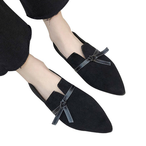 Cover Heel Shallow Toe Bow Flats Shoes