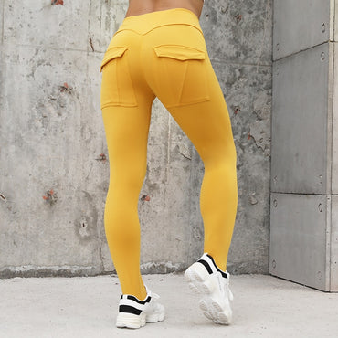 High Waist Elastic Push Up With Pocket Ankle Length Polyester Legging