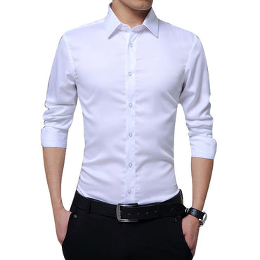 Slim Fit Solid Business Formal Shirts