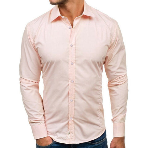 Casual Long Sleeved Solid Shirts Slim Fit Male Social Business Dress Shirt
