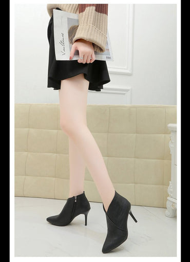 PU Leather Pointed Toe Pumps Side with Pearl Martin Boots