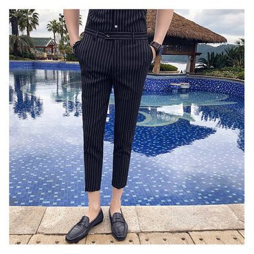 Stripe  Black  White skinny Fit Pants