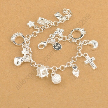 Sterling Silver Charming Bracelet Pendants Nice Cross Moon Heart Clock Jewelry Bracelets & Bangles