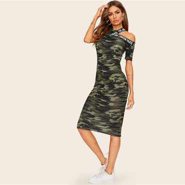 Asymmetrical Shoulder Letter Tape Camo Dress