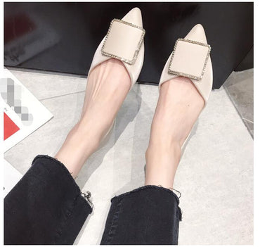 Shallow Mouth Square Crystal Buckle Casual Daily Flat  Shoes