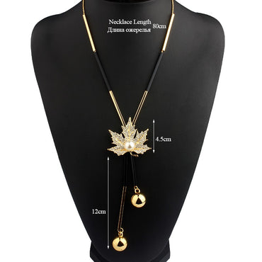 Cute Maple Leaf Long Beaded Chain Tassel Pendant Necklace