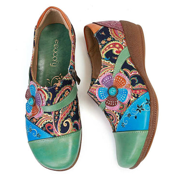 Folkways Floral Pattern Genuine Leather Splicing Jacquard Comfortable Zipper Flat Shoes