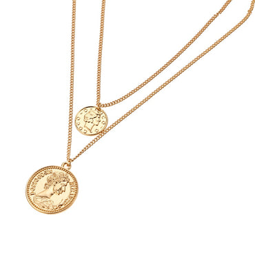 Vintage Retro Round Portrait Coin Pendant Necklace