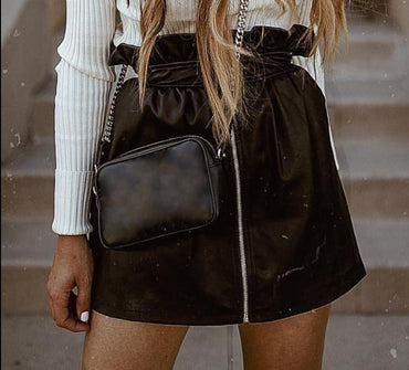 Ruffle pu leather skirt