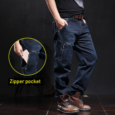 Casual Motorcycle Workwear Zipper Pockets Army Military Tactical Denim Biker Cargo Jeans