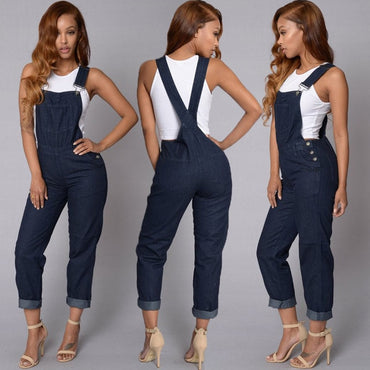 Full Length Pinafore Dungaree Overall Solid Loose Causal Jumpsuit