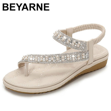 crystal diamond big size plus slip on bridal white wide fit bling pearl toe ring sandals