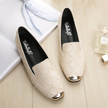 Square Toe PU Leather Flat shoes