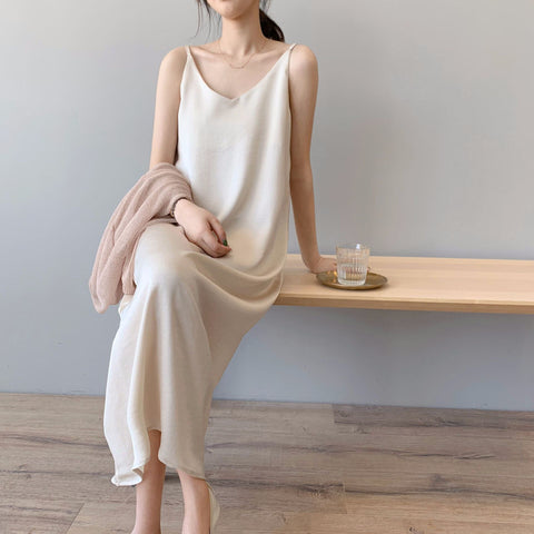Casual Satin Sexy Camisole Elastic Home Beach Dresses