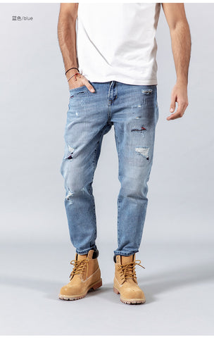 patchwork hole denim pants ankle-length hip hop ripped streetwear Jeans