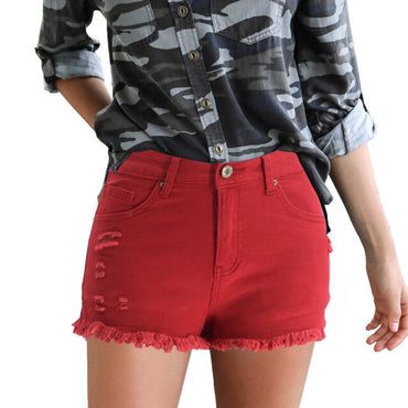 Embroidery Ripped Denim Shorts