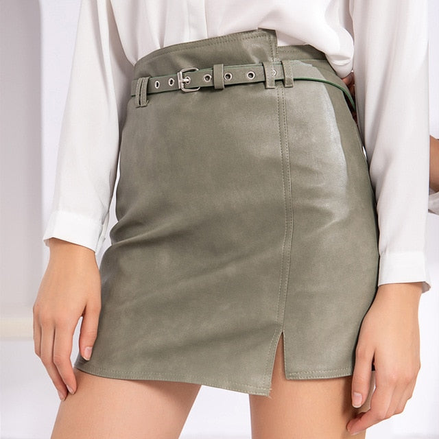 \ PU Leather Skirt
