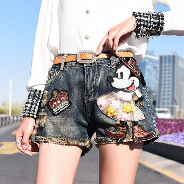 Mickey Applique Sequin Denim Shorts